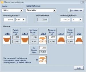 Massamuunnokset - esimerkki massamuunnoslaskennasta